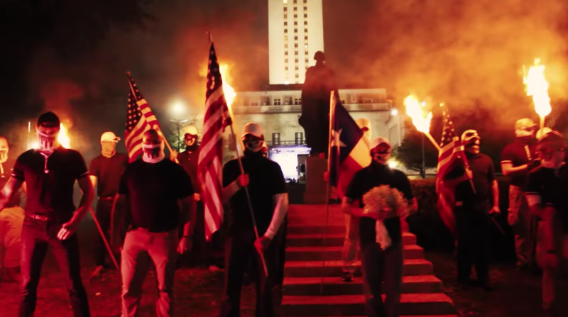 Patriot Frontheld a torchlit march through the University of Texas campus in Austin in November 2017. (YouTube)