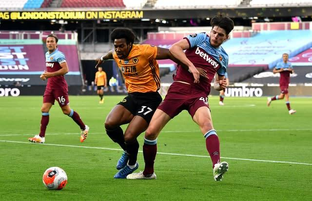 Rice stepped back into defence against Wolves (Ben Stansall/NMC Pool)