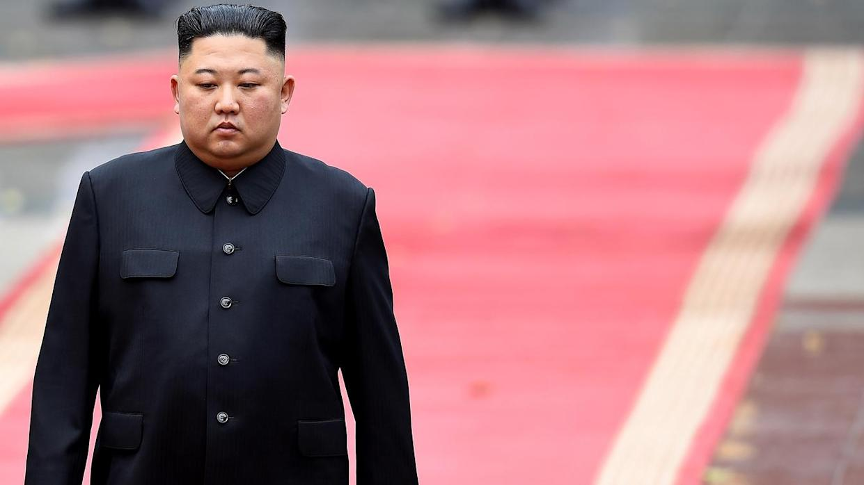 North Korea's leader Kim Jong Un attends a welcoming ceremony and review an honour guard at the Presidential Palace in Hanoi on March 1, 2019. (Manan Vatsyayana/AFP via Getty Images)