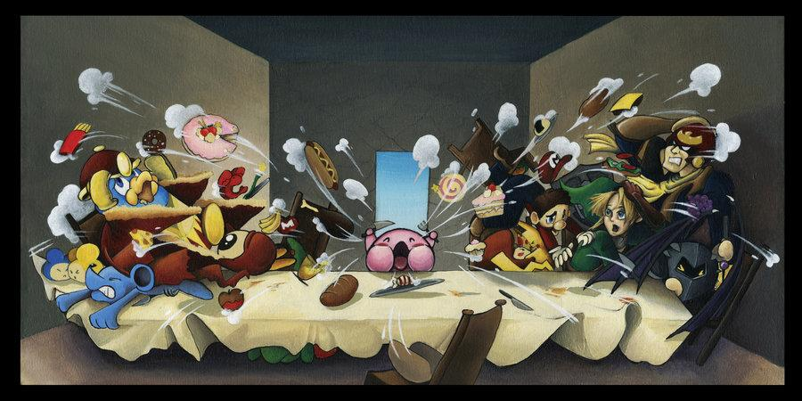 "The Final Supper - Smash Bros. Parody Painting by <a target=""_blank"" href=""http://riskyo.deviantart.com/"">Riskyo</a>"