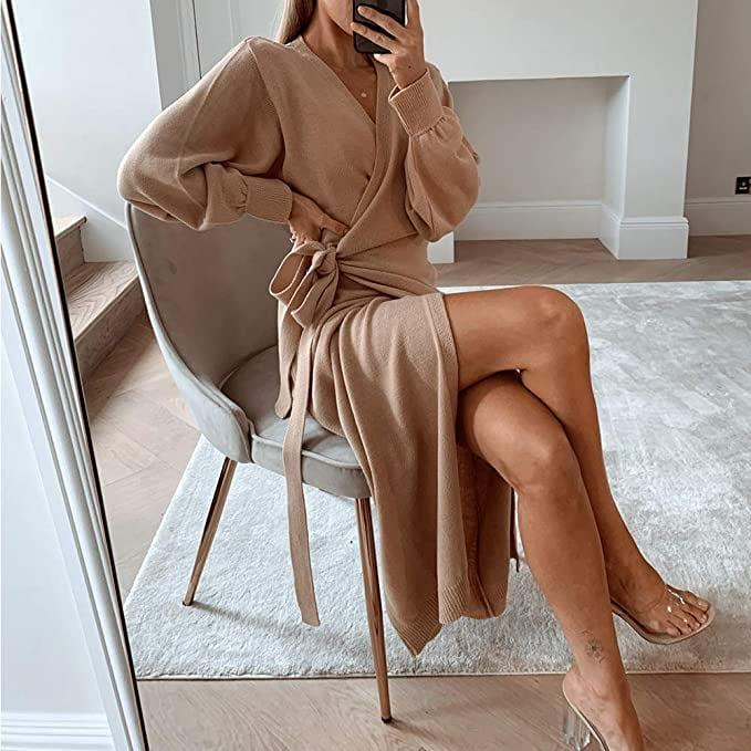<p>This <span>Exlura Knit Sweater Wrap Dress </span> ($40) is so soft.</p>