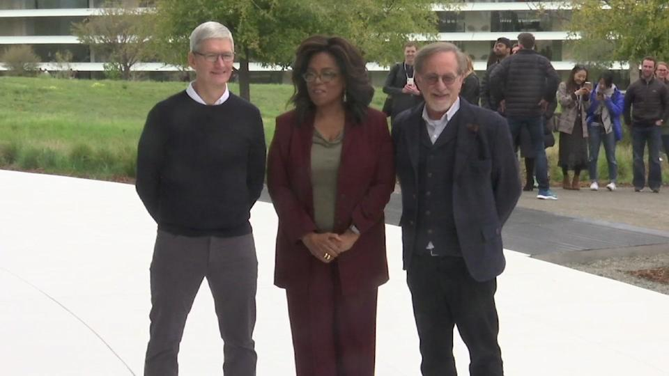 Apple announced its own TV and movie streaming service, enlisting superstars like Oprah Winfrey and Spielberg as collaborators