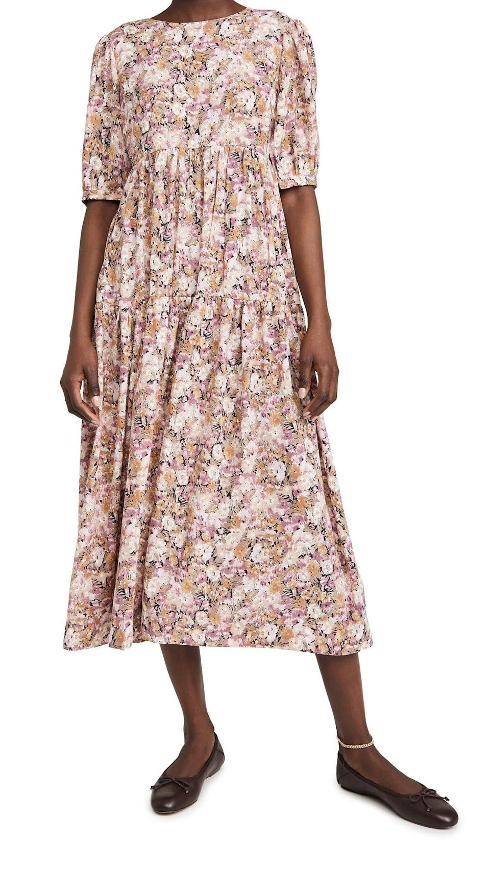 """<br><br><strong>En Saison</strong> Floral Tiered Midi Dress, $, available at <a href=""""https://amzn.to/3yCNigd"""" rel=""""nofollow noopener"""" target=""""_blank"""" data-ylk=""""slk:Amazon"""" class=""""link rapid-noclick-resp"""">Amazon</a>"""