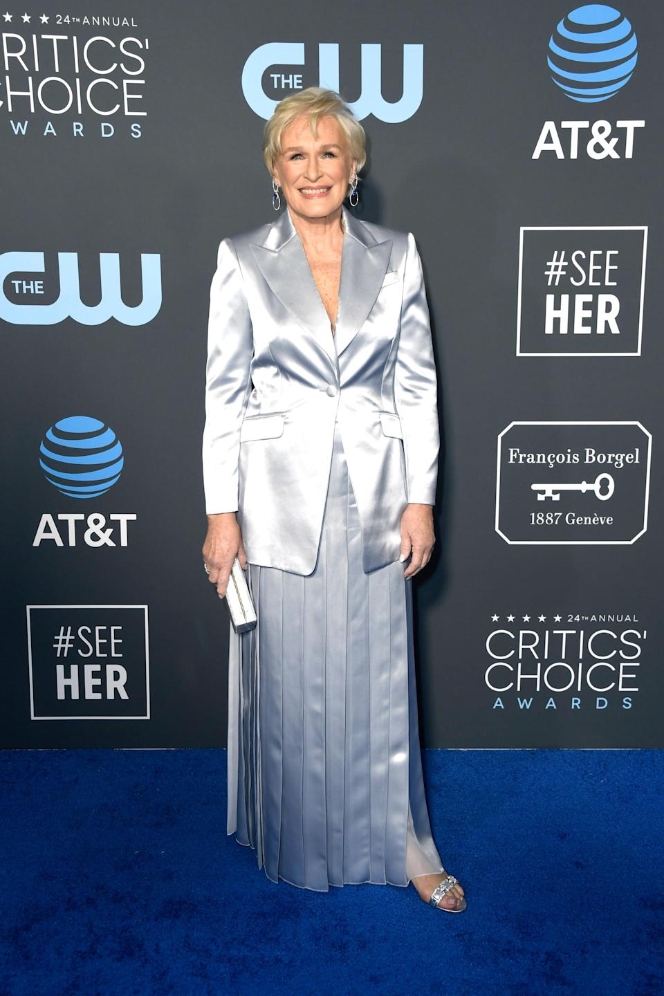 <p>Nominee Glenn Close went for a long silver skirt, with a matching blazer. Source: Getty </p>