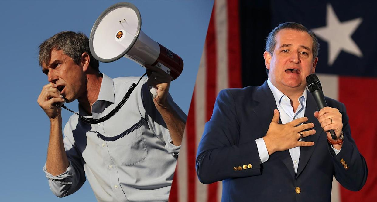 Beto O'Rourke, left, and Ted Cruz. (Photos: Chip Somodevilla/Getty Images, Justin Sullivan/Getty Images)