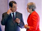 Britain's Prime Minister Theresa May and President of Cyprus Nicos Anastasiades talk during the European Union leaders informal summit in Salzburg, Austria, September 20, 2018. REUTERS/Leonhard Foeger
