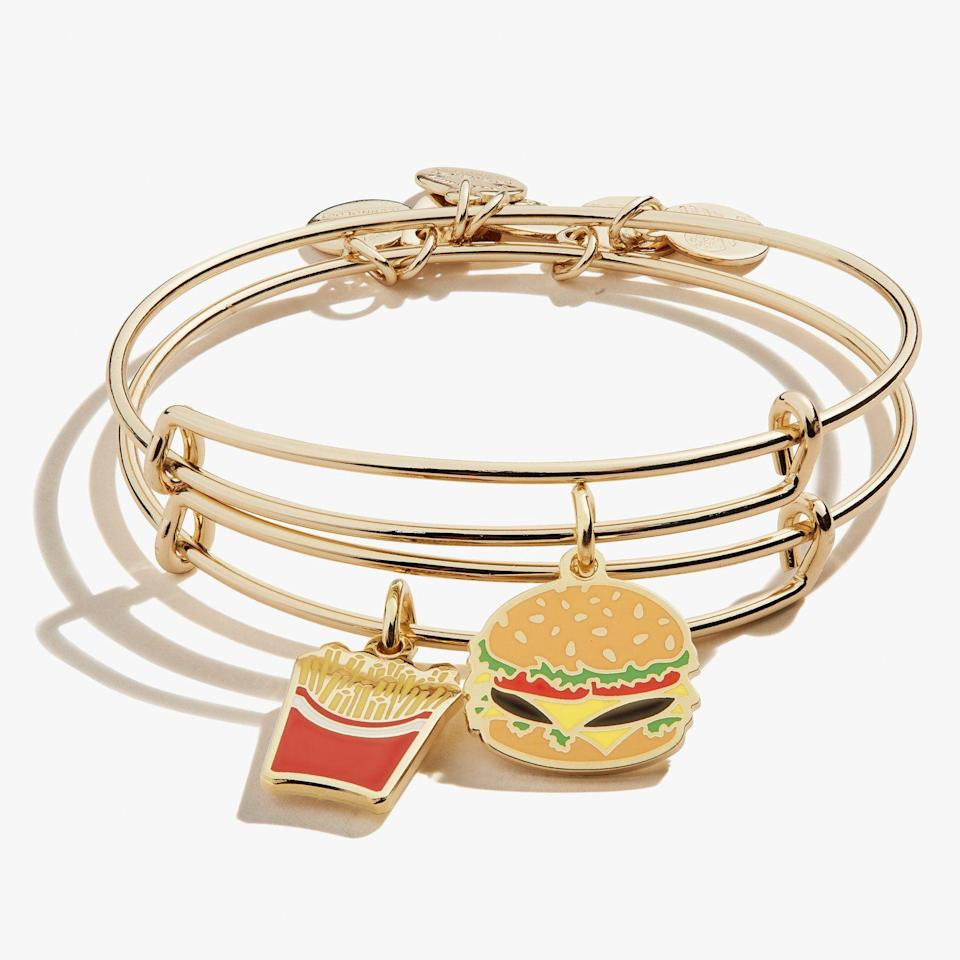 """<p>alexandani.com</p><p><strong>$69.00</strong></p><p><a href=""""https://go.redirectingat.com?id=74968X1596630&url=https%3A%2F%2Fwww.alexandani.com%2Fproducts%2Fhamburger-fry-charm-bangles-set-of-2&sref=https%3A%2F%2Fwww.delish.com%2Fholiday-recipes%2Fchristmas%2Fg3831%2Fbest-food-gifts%2F"""" rel=""""nofollow noopener"""" target=""""_blank"""" data-ylk=""""slk:BUY NOW"""" class=""""link rapid-noclick-resp"""">BUY NOW</a></p><p>You and your BFF will look so cute rocking these fast-food-inspired friendship bracelets. (Oh, and if you have friends who are more into <a href=""""https://www.alexandani.com/products/you-have-a-pizza-my-heart-charm-bangle"""" rel=""""nofollow noopener"""" target=""""_blank"""" data-ylk=""""slk:pizza"""" class=""""link rapid-noclick-resp"""">pizza</a> or <a href=""""https://www.alexandani.com/products/hot-stuff-charm-bangle"""" rel=""""nofollow noopener"""" target=""""_blank"""" data-ylk=""""slk:hot sauce"""" class=""""link rapid-noclick-resp"""">hot sauce</a>, they have those too!). </p>"""