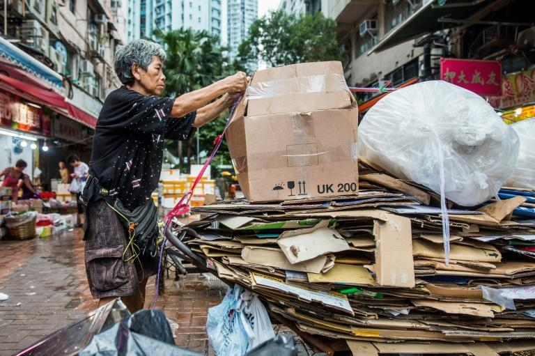 Au Fung-lan is one of some 2,900 cardboard collectors, mainly older women, who are a familiar sight in Hong Kong