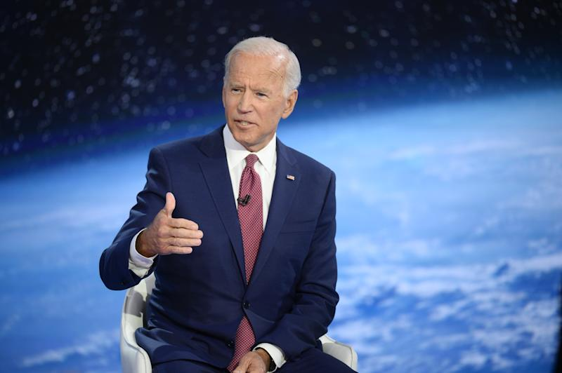 Former Vice President Joe Biden speaks during a CNN town hall on the climate crisis in New York City on Wednesday. (Photo: Edward M. PioRoda/CNN)
