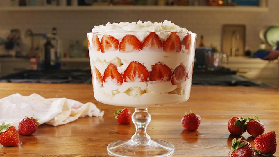"""<p>Even the whipped cream has champagne! <br></p><p>Get the recipe from <a href=""""https://www.delish.com/cooking/recipe-ideas/a22345224/strawberry-champagne-trifle-recipe/"""" rel=""""nofollow noopener"""" target=""""_blank"""" data-ylk=""""slk:Delish"""" class=""""link rapid-noclick-resp"""">Delish</a>.</p>"""