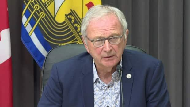 Premier Blaine Higgs offered condolences Friday to those mourning the loss of a loved one to COVID-19. (Government of New Brunswick/YouTube - image credit)