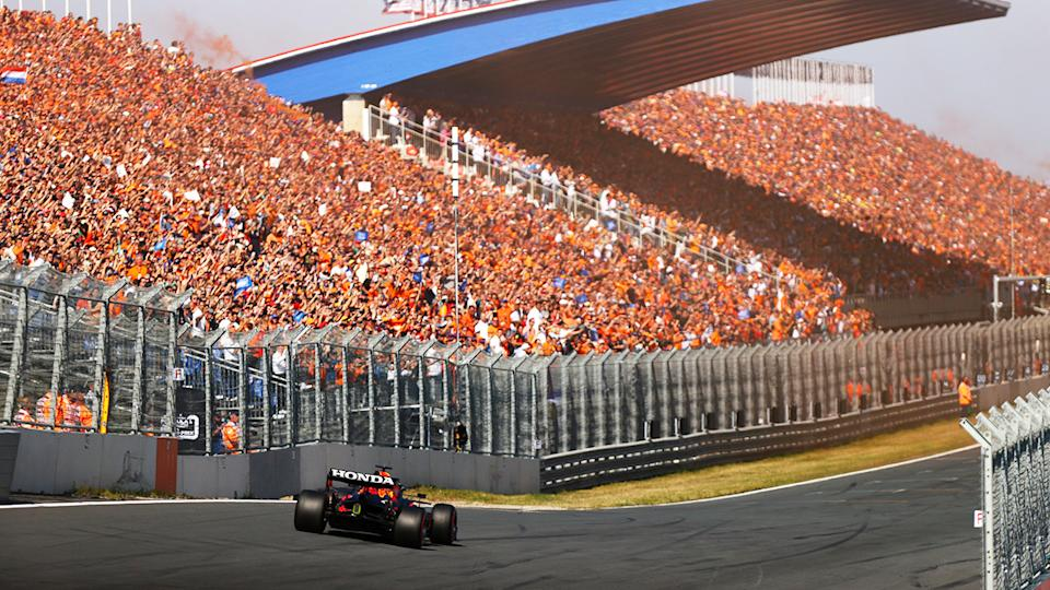 Over 70,000 fans, pictured here watching Max Verstappen win the Dutch Grand Prix.
