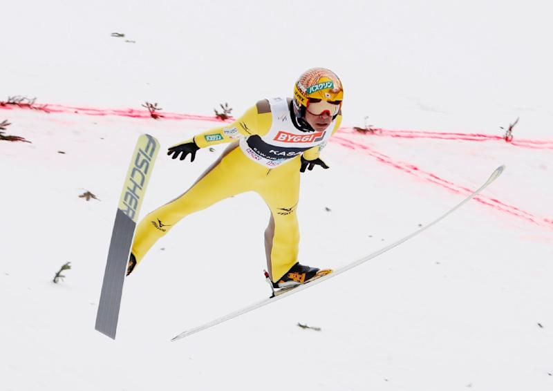 Noriaki Kasai from Japan soars during the FIS Ski Jumping World Cup in Vikersund, on March 19, 2017