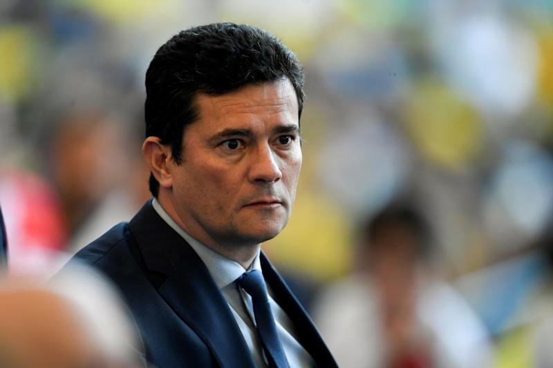 Brazil's Minister of Justice Sergio Moro waits for the start of the Copa America football tournament final match against Peru at Maracana Stadium in Rio de Janeiro, Brazil, on July 7, 2019. (Photo by MAURO PIMENTEL / AFP) (Photo credit should read MAURO PIMENTEL/AFP via Getty Images)