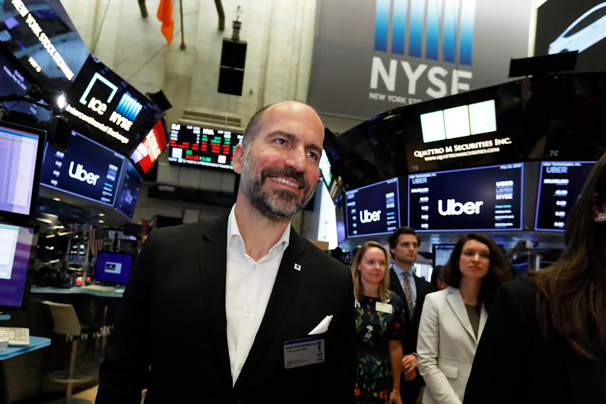 Uber CEO Dara Khosrowshahi arrives at the New York Stock Exchange as his company makes its initial public offering, Friday, May 10, 2019. (AP Photo/Richard Drew)