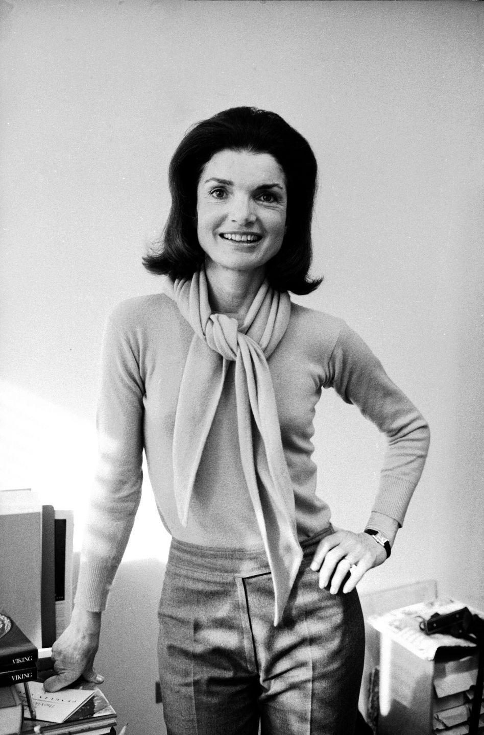 <p>Jackie Kennedy Onassis in her office at Viking Press where she worked as an editor during her third act. </p>