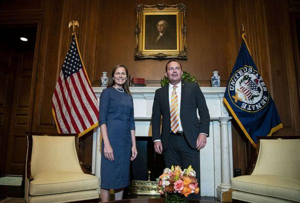 PHOTO: Judge Amy Coney Barrett, President Trump's Supreme Court nominee, meets with Senator Mike Lee at the Capitol in Washington, D.C., Sept. 29, 2020. (Al Drago/EPA via Shutterstock)