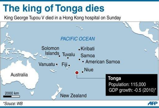 Map showing Tonga. The king of the pacific island state George Tupou V died on Sunday in a hospital in Hong Kong