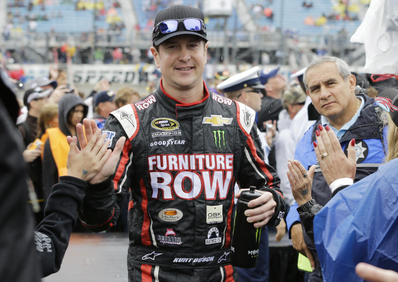 Busch shakes off speeding penalty for big finish