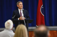 FILE - In this Aug. 11, 2021 file photo, Governor Bill Lee makes a speech at McConnell Elementary School in Hixson, Tenn. In a series of bills since last year, Congress has allocated nearly $200 billion billion to help public and private schools weather the coronavirus pandemic. Most of the money was required to be sent to local education agencies. (Troy Stolt/Chattanooga Times Free Press via AP, File)