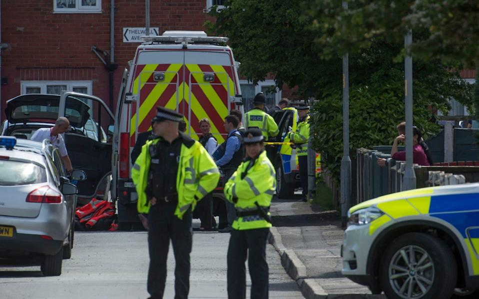 Police seal off Elsmore Road in Fallowfield, Manchester.