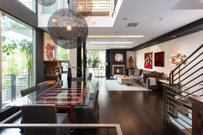 The main living area is sleek and modern.