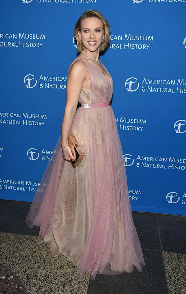 <p>On November 15, Scarlett Johnasson wore a frothy pink dress by J. Mendel finished with Christian Louboutin shoes and Harry Winston jewellery. <em>[Photo: Getty]</em> </p>