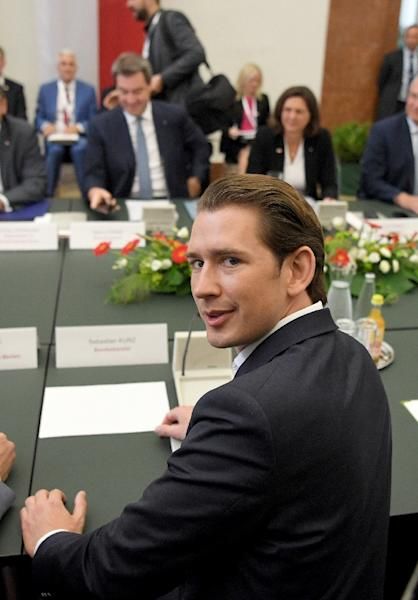 """Austrian Chancellor Sebastian Kurz says the """"fight against illegal immigration"""" will be the priority from July 1 when his country takes over the rotating EU presidency (AFP Photo/ROLAND SCHLAGER)"""