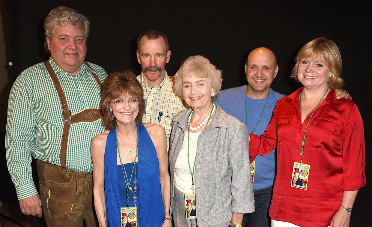 Cast of Willy Wonka (L-R) Michael Bollner, Denis Nickerson, Peter Ostrum, Diana Sowle, and Paris Themmen Poses at The Hollywood Show on July 20, 2014 in Los Angeles, California. (Photo by Steve Granitz/WireImage)