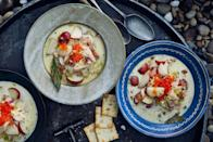 """Smoked fish and smoky bacon work in tandem to bring bold flavor to this riff on chowder, while a bit of buttermilk lends tang and lightness to the silky broth. <a href=""""https://www.epicurious.com/recipes/food/views/smoked-fish-chowder?mbid=synd_yahoo_rss"""" rel=""""nofollow noopener"""" target=""""_blank"""" data-ylk=""""slk:See recipe."""" class=""""link rapid-noclick-resp"""">See recipe.</a>"""