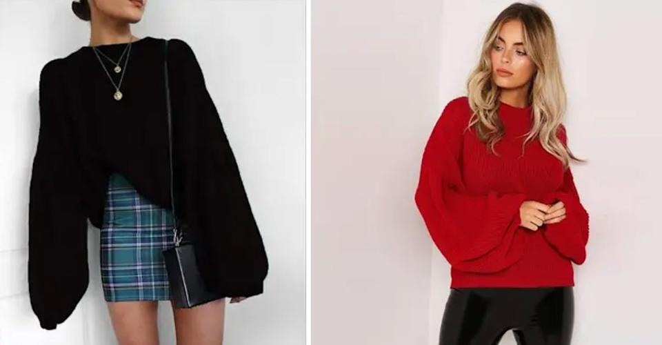 """The loose, oversized fit of this top makes it both exceptionally comfy and versatile.<br /><br /><strong>Promising review</strong>: """"<strong>I first got the black sweater but then ended up getting the red and green one too. Looks absolutely fantastic tucked into a high-waisted skirt. I'll definitely scoop up any new colors they release.</strong>I've washed and dried 'em a lot with absolutely no issues. They're high quality for sure and they hold up really well. Very easy to dress up or down and really warm for the winter. I get compliments on them constantly. Completely worth buying, they're a staple in my wardrobe now."""" —<a href=""""https://www.amazon.com/gp/customer-reviews/RAOPI5PXDUJ9W?&linkCode=ll2&tag=huffpost-bfsyndication-20&linkId=07a13ea1ad99fd4651d9ada67dc139fe&language=en_US&ref_=as_li_ss_tl"""" target=""""_blank"""" rel=""""nofollow noopener noreferrer"""" data-skimlinks-tracking=""""5876227"""" data-vars-affiliate=""""Amazon"""" data-vars-href=""""https://www.amazon.com/gp/customer-reviews/RAOPI5PXDUJ9W?tag=bfchelsea-20&ascsubtag=5876227%2C34%2C35%2Cmobile_web%2C0%2C0%2C16401497"""" data-vars-keywords=""""cleaning,fast fashion"""" data-vars-link-id=""""16401497"""" data-vars-price="""""""" data-vars-product-id=""""20981042"""" data-vars-product-img="""""""" data-vars-product-title="""""""" data-vars-retailers=""""Amazon"""">Lisa</a><br /><br /><strong><a href=""""https://www.amazon.com/PRETTYGARDEN-Shoulder-Lantern-Fashion-Pullover/dp/B08NTQXM5S?&linkCode=ll1&tag=huffpost-bfsyndication-20&linkId=7ef92dade4359ed35e79970e9a08d380&language=en_US&ref_=as_li_ss_tl"""" target=""""_blank"""" rel=""""noopener noreferrer"""">Get it from Amazon for$14.99+(available in sizes S–XL and in three colors).</a></strong><br /><a href=""""https://img.buzzfeed.com/buzzfeed-static/static/2021-02/24/0/asset/8a98f7f0d02c/sub-buzz-2944-1614125670-1.jpg"""" data-skimlinks-tracking=""""5876227""""></a>"""