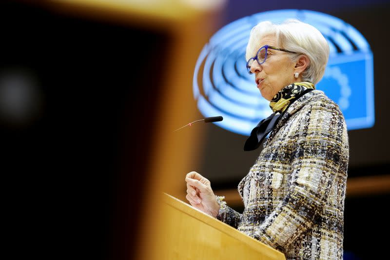 ECB President Lagarde attends a plenary session at the European Parliament, in Brussels