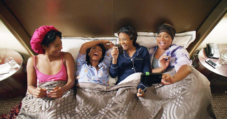 """<p>Would you like to travel to New Orleans for a booze-fueled weekend of adventure with Regina Hall, Jada Pinkett Smith, Tiffany Haddish, and Queen Latifah? Yeah, we thought so. Unfortunately that's not quite doable, but we have the next best thing: watching their hilarious romp, <em>Girls Trip</em>. </p> <p><a href=""""https://www.amazon.com/Girls-Trip-Regina-Hall/dp/B073VD4W4Z"""" rel=""""nofollow noopener"""" target=""""_blank"""" data-ylk=""""slk:Available to rent on Amazon Prime Video"""" class=""""link rapid-noclick-resp""""><em>Available to rent on Amazon Prime Video</em></a></p>"""