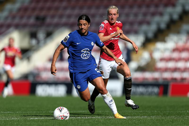 Sam Kerr in possession during the Barclays FA Women's Super League match between Manchester United and Chelsea at Leigh Sports Village on September 06, 2020 in Leigh, England.