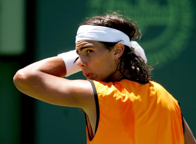 Rafael Nadal of Spain wipes his brow during play against Roger Federer of Switzerland in the men's final during the NASDAQ-100 Open at the Crandon Park Tennis Center on April 3, 2005 in Key Biscayne, Florida (AFP Photo/Matthew Stockman)