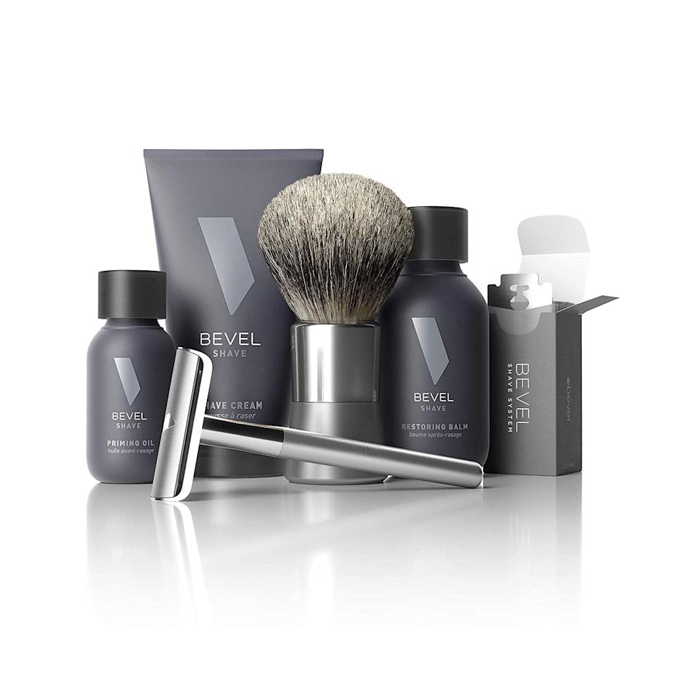 """Agrooming kit specifically designed for razor bump-free shaving for coarse, curly hair. It comes complete with a re-engineered safety razor that doesn't cut hair under the skin, which helps in preventing ingrown hairs, bumps and other shaving irritations. <a href=""""https://getbevel.com/"""" target=""""_blank"""" rel=""""noopener noreferrer"""">Bevel</a> is a Black-founded company that specializes in grooming products designed for sensitive skin. Each set includes the Bevel safety razor, badger shave brush, shave cream, priming oil, restoring balm and 20 replacement blades.<br /><br /><strong>Promising review:</strong>""""I'm a young Nigerian-American male, with 4c hair.<strong>The curl pattern of my hair and my combination skin causes me to get razor bumps really easily</strong>, considering most shaving regimens stretch and cut hairs somehow, causing my hair to have to begin growth under the skin layer, easily causing ingrown hairs. This has changed how I shave!<strong>This shave kit gives me an extremely close shave, but most importantly, not too close that my hair starts it's growth under the skin.</strong>It perfectly trims it just to skin level, letting my hair grow from an appropriate level.<strong>The ingredients of the products also feel great, smell great and do nothing to irritate my skin. I've been converted; I'll only be buying Bevel shave products from now on.</strong>This was MADE for Black men. Do yourself the favor."""" —<a href=""""https://getbevel.com/shave-kit"""" target=""""_blank"""" rel=""""noopener noreferrer"""">David</a><br /><br /><strong>Get it from Bevel for <a href=""""https://getbevel.com/shave-kit"""" target=""""_blank"""" rel=""""noopener noreferrer"""">$89.95</a> (with an option for a $59.95 monthly auto-ship) or Amazon for <a href=""""https://www.amazon.com/dp/B00IT8K564?&linkCode=ll1&tag=huffpost-bfsyndication-20&linkId=634ae674e81a5cc536265b798014f457&language=en_US&ref_=as_li_ss_tl"""" target=""""_blank"""" rel=""""noopener noreferrer"""">$78.23</a>.</strong>"""