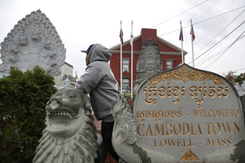 In this Sept. 26, 2019 photo, a man of Cambodian descent, who has lived in the United States since childhood and is now facing possible deportation, poses in Lowell, Mass.  Asian American groups are objecting to the Trump administration's efforts to step up deportations of Cambodians, as dozens of refugees with criminal convictions are being ordered to report to federal officials next week for removal.  (AP Photo/Elise Amendola)