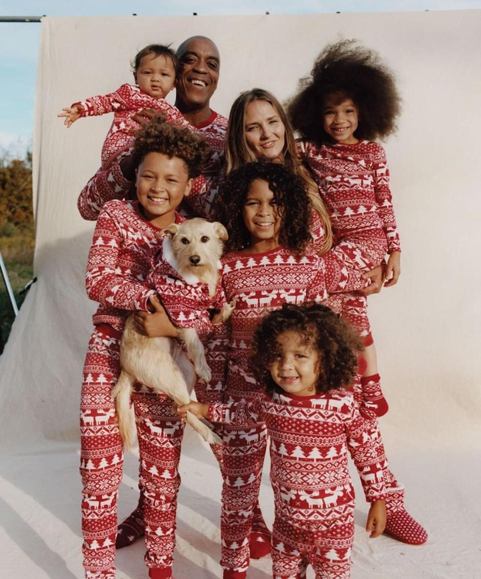 Christmas pyjamas in red traditional print - available on Etsy from $25.