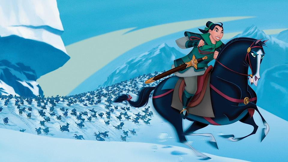 """<p>disneyplus.com</p><p><a href=""""https://go.redirectingat.com?id=74968X1596630&url=https%3A%2F%2Fwww.disneyplus.com%2Fmovies%2Fmulan%2F85wmj4hahA0B&sref=https%3A%2F%2Fwww.countryliving.com%2Flife%2Fentertainment%2Fg30875475%2Fkids-movies-disney-plus%2F"""" rel=""""nofollow noopener"""" target=""""_blank"""" data-ylk=""""slk:STREAM NOW"""" class=""""link rapid-noclick-resp"""">STREAM NOW</a></p><p>A live-action version is coming out this year, so you should brush up on the original before you head out to the theater. </p>"""