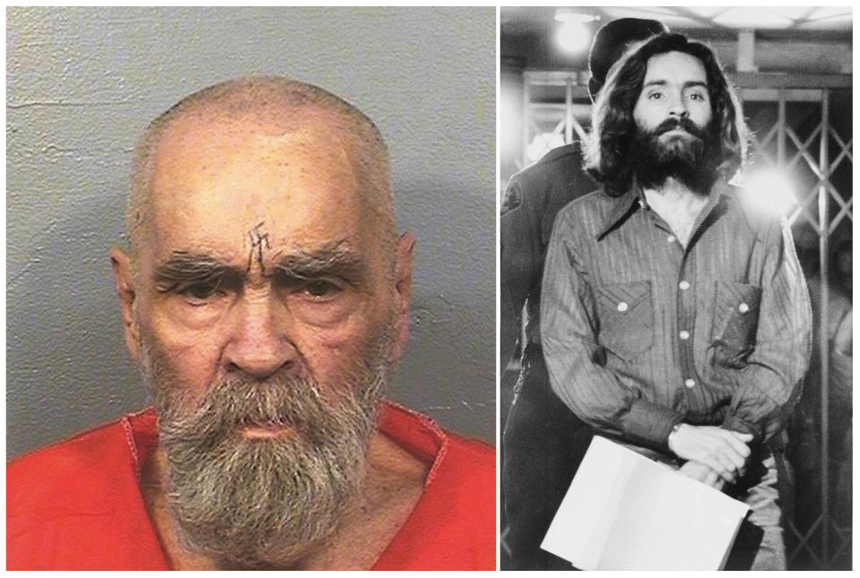FILE - This combination of file photos shows Charles Manson on Aug. 14, 2017, left, in a photo provided by the California Department of Corrections and Rehabilitation, and on Dec. 22, 1969, right, leaving a Los Angeles courtroom. Fifty years ago, Manson dispatched a group of disaffected young hippie followers on a two-night killing spree that terrorized Los Angeles. On successive nights in August 1969, the so-called Manson family murdered seven people. Manson died in prison on Nov. 19, 2017. (California Department of Corrections and Rehabilitation, left, and Wally Fong, right, via AP, File)
