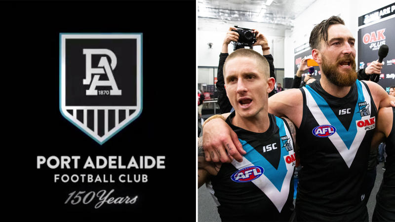Port Adelaide released their 150th anniversary logo (pictured left), which has come under fire on social media. (Images: Port Adelaide FC/Getty Images)