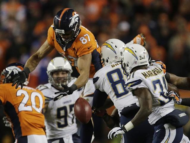 Denver Broncos wide receiver Eric Decker (87) leaps for an onside kick by the San Diego Chargers in the fourth quarter of an NFL AFC division playoff football game, Sunday, Jan. 12, 2014, in Denver. San Diego recovered the kick. (AP Photo/Joe Mahoney)