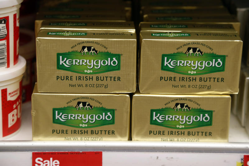 A supply of Kerrygold Pure Irish Butter sits amidst other butters on a store shelf Friday, March 17, 2017 in Edina, Minn. Wisconsin consumers tired of trekking across state lines to buy a popular Irish butter are taking their fight to court. A 1953 state law bans the sale of Kerrygold butter in Wisconsin, along with any other butter that hasn't been locally graded for quality. A handful of butter aficionados filed the lawsuit, saying it's unconstitutional to require butter sold in the state to undergo a government-mandated taste test. (AP Photo/Jim Mone)