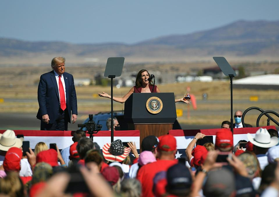 A Republican candidate appeared to suggest her party will lose the US Senate - as Donald Trump looked on. (Photo by MANDEL NGAN/AFP via Getty Images)