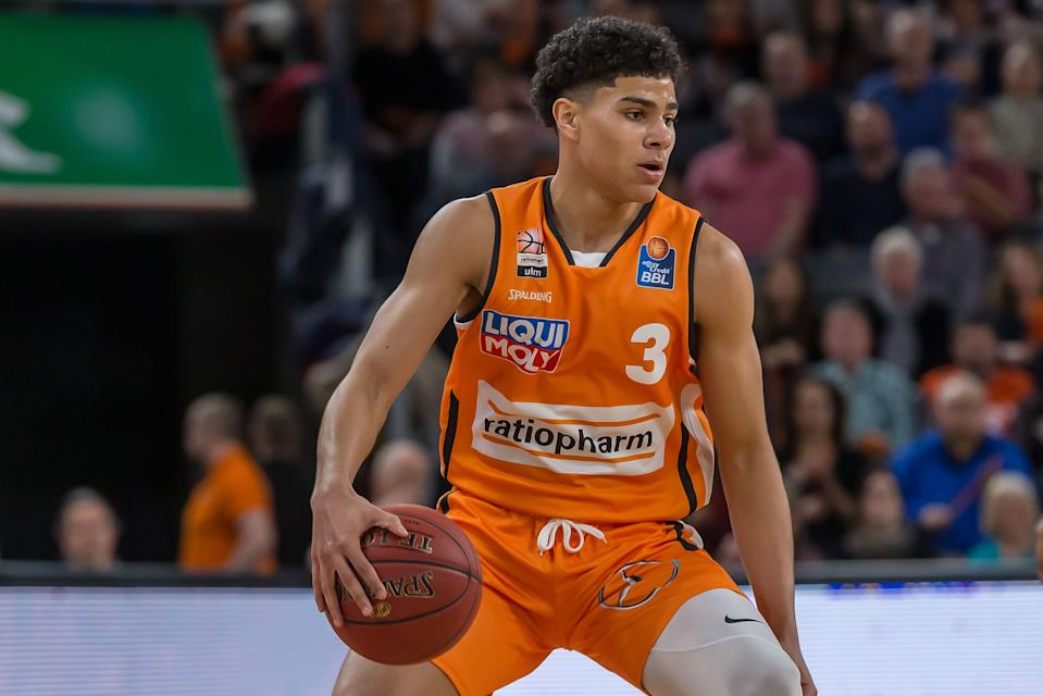 Killian Hayes of Ratiopharm Ulm controls the Ball during the EasyCredit Basketball Bundesliga (BBL) match between Ratiopharm Ulm and MHP Riesen Ludwigsburg at ratiopharm Arena.