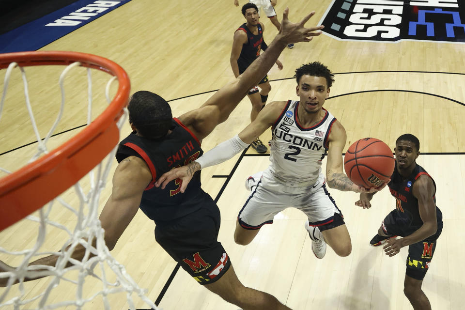 James Bouknight #2 of the Connecticut Huskies shoots against the Maryland Terrapins during the first half in the first round game of the 2021 NCAA Men's Basketball Tournament at Mackey Arena on March 20, 2021 in West Lafayette, Indiana. (Photo by Gregory Shamus/Getty Images)