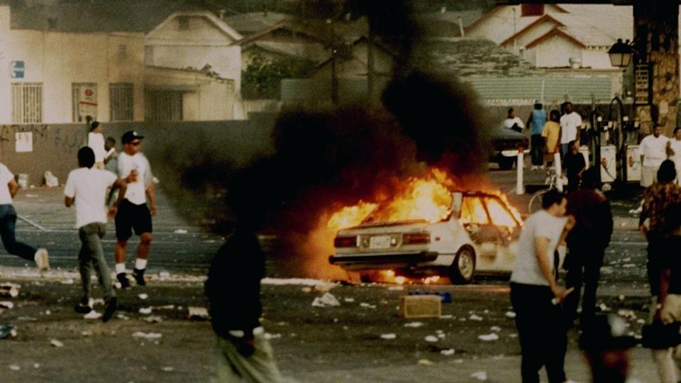 "<p>Twenty-five years after the Rodney King trial, <em>LA 92</em> looks at the emotional firebomb that detonated in Los Angeles—when the violent clashes between the police and citizens brought long-simmering racial tension to a national awareness. </p><p><a class=""link rapid-noclick-resp"" href=""https://www.netflix.com/watch/80184131?trackId=13752289&tctx=0%2C0%2C765a35f7-410f-41d8-a205-f6275876356c-62634072%2C%2C"" rel=""nofollow noopener"" target=""_blank"" data-ylk=""slk:Watch Now"">Watch Now</a></p>"