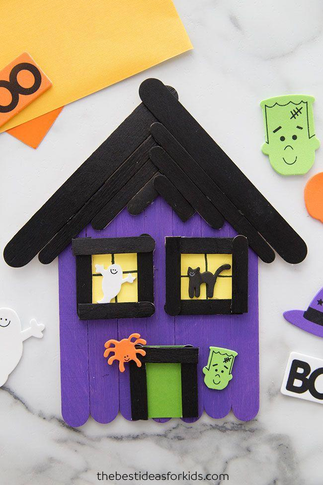 "<p>Build your own haunted house from the ground up by arranging painted popsicle sticks to create the house's base, roof, windows, and door. </p><p><em><a href=""https://www.thebestideasforkids.com/popsicle-stick-haunted-house-craft/"" rel=""nofollow noopener"" target=""_blank"" data-ylk=""slk:Get the tutorial at The Best Ideas for Kids »"" class=""link rapid-noclick-resp"">Get the tutorial at The Best Ideas for Kids » </a></em></p>"
