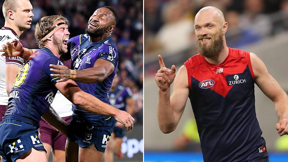 Seen here, the Melbourne Storm and Melbourne Demons react to their respective finals wins.