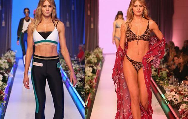 Jesinta hits the runway showing off her toned abs. Source: Getty